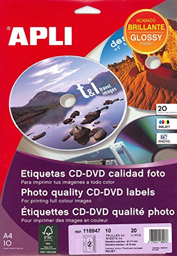 Apli 118947 Pochette de 20 etiquetas Photo Glossy CD/DVD A4 117 mm Diámetro