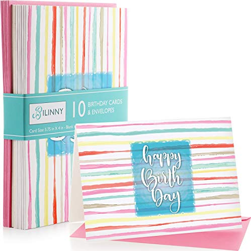 Bilinny Happy Birthday Cards & Envelopes 10 Pack, EXTRA THICK PAPER, (300 GSM) Unique Colorful Design, Matte Finish, Blank Greeting Card Set for Adults, Kids, Women & Men.