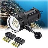 DOMINTY Diving Flashlight 15x XM-L2+6X Red+6X UV...