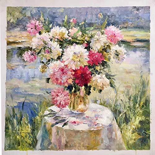 OCWTCH handgeschilderde bloempot kunst olieverfschilderij op canvas muurkunst wandversiering schilderij voor woonkamer wooncultuur (40X40cm)16X16inch B