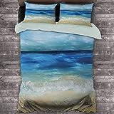 Paquete de 3 (1 funda de edredón y 2 fundas de almohada) Tropical Sandy Beach olas puras tranquilas océano bajo las nubes verano paisaje poliéster (dos camas) azul marino marrón pálido