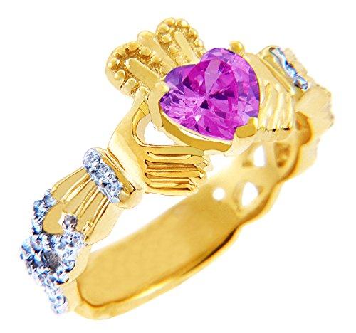Pequeños Tesoros - Anillos Damas 18 KT 750/1000 Amarillo Oro Diamante Claddagh con 0.4 CT. Rosa Turmalina