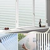 KINLO Pegatina De Ventana Película de Vidrio Esmerilado Pegamento Electrostático Privacidad Decorativa de Rayas 90x200cm Papel Adhesiva de PVC Anti-ultravioleta de Ventana