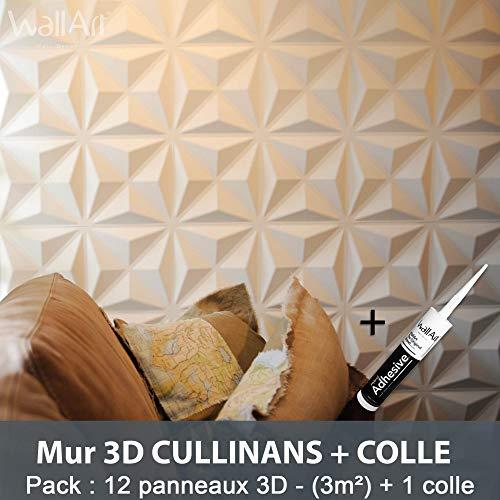Wandpaneel 3D für Wanddekoration + Kleber 3D I 12 Paneele Deko 3 m2 I Wandbekleidung WallArt Wanddekoration Wohnzimmer Schlafzimmer I Wandteppich 3D Wand
