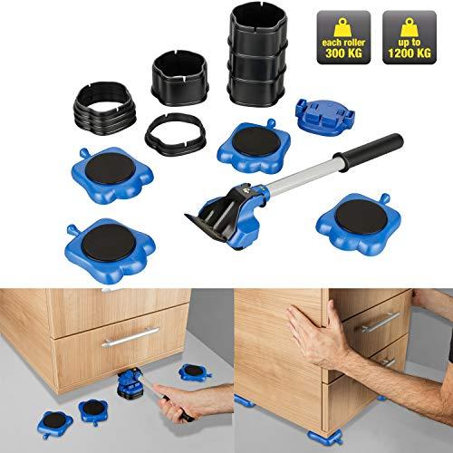 KINZO Möbel-Gleitroller 10 tlg. Set |Stabile Transporthilfe zum sicheren Transportieren von Möbeln, Waschmaschinen etc, Belastbarkeit 300kg je Rolle, Umzugshilfe, Transportroller