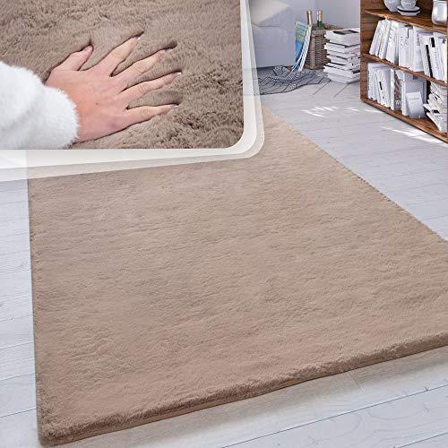 Paco Home Hochflor Teppich Wohnzimmer Kunstfell Super Soft Einfarbig in Versch. Größen und Farben, Farbe:Beige, Grösse:120x160 cm