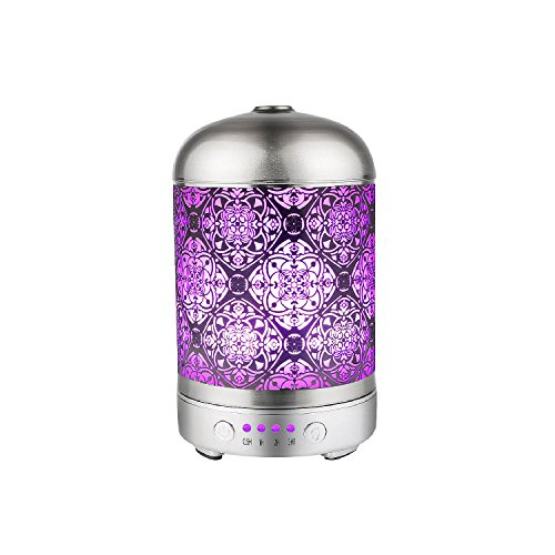 COOSA 100ml Essential Oil Diffuser Metal Ultrasonic Aroma Humidifier with Plating Brushed Process, with Colorful LED Light and Time Setting Aroma Diffuser for Home & Office (Silver)