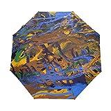 Pintura Abstracta Al Óleo Azul Paraguas Plegable Hombre Automático Abrir y Cerrar Antiviento Protección UV Ligero Compacto Paraguas para Viajes Playa Mujeres Niños Niñas