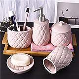 DBWIN Juego de Accesorios de baño Juego de Accesorios de baño de 5 Piezas de cerámica con dispensador de jabón Soporte para Cepillo de Dientes Vaso Almacenamiento de bastoncillos de algodón y jabo