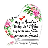 PETCEE Mothers Day Aunt Gifts from Niece Nephew Only an Aunt Can Give Hugs Like a Mother Keep Secrets Like a Sister Keepsake and Paperweight Best Birthday Keepsake for Aunt from Niece