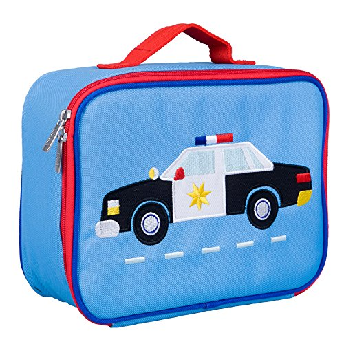 Wildkin Kids Insulated Embroidered Lunch Box Bag for Boys and Girls, Perfect Size for Packing Hot or Cold Snacks for School & Travel, Measures 10 x 7.5 x 4 Inches, BPA-Free, Olive Kids (Police Car)