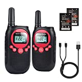 Rechargeable Walkie Talkies for Adults Long Range 5 Miles USB Charger 22CH VOX Flashlight LCD FRS Two Way Radio Rechargeable Li-ion Battery 2 Pack for Camping Family Road Trip Hiking Walky Talky