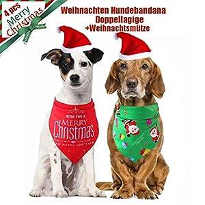 TOUCHNEW Bandana pour Chiens, 4 Bandanas pour Animal de Compagnie et Animal de Compagnie, Bonnet de Noël pour Chien, Petit et Moyen