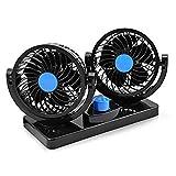 Ventilador de Refrigeración para Coche 12V Velocidad Ajustable 360 Grado Giratorio Silencioso...