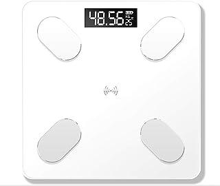 LINLIN Báscula de Grasa Corporal Bluetooth Premium Básculas de baño Digitales de Alta precisión y Báscula Inteligente a través de Bluetooth o Wi-Fi BIM, Báscula de Grasa, báscula,Blanco,Charging