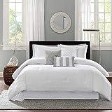 Madison Park Luxe Comforter Set-Modern Stitching Design All Season Down Alternative Cozy Bedding with Matching Shams, Decorative Pillow, King(104'x92'), Hampton Stripe White, 7 Piece