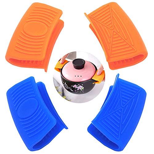 Ceqiny - Juego de 2 pares de asas de silicona para ollas y sartenes de hierro fundido, color naranja y azul