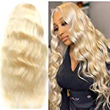 613 Blonde Lace Front Wig Human Hair Pre Plucked T-Part Body Wave 13X1 Lace Front Wigs with Baby Hair 150% Density Brazilian Blonde Human Hair Wigs for Black Women(10inch)