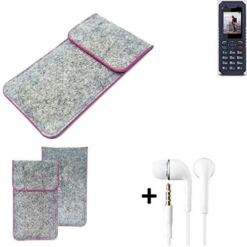 K-S-Trade® Filz Schutz Hülle Für Bea-fon AL250 Schutzhülle Filztasche Pouch Tasche Case Sleeve Handyhülle Filzhülle Hellgrau Pinker Rand + Kopfhörer