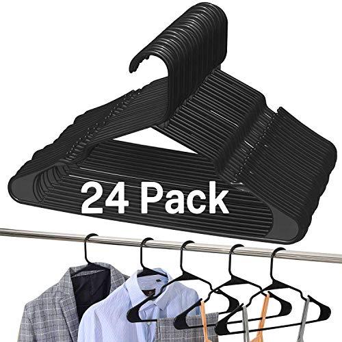 BAGAIL Pack of 24 Black Plastic HangersPremium Non-Slip Notched Clothes HangersHeavy Duty Sleek Skirt Hangers for Everyday Standard Use24 Pack Black