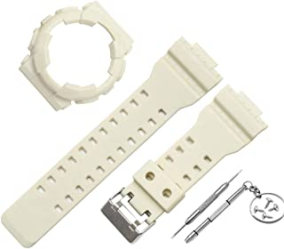 Replacement Watch Strap +Cover Case Compatible for Casio G Shock GA-110 GA100 GD-120, 30mm,Newest PVC Fashion Wristband Straps Bracelet for Casio G Shock GA-110 GA100 GD-120