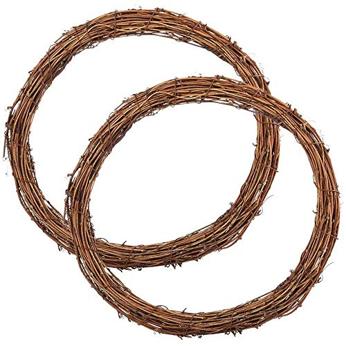 Camisin 2 Pcs 12 Inch Wreaths Vine Branch Wreath Christmas Rattan Wreath for DIY Craft Front Door Wall Hanging Decors