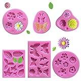 VASZOLA 6 Stück Silikon Formen für Fondant Backen Blumen Rose Blätter Schmetterling 3D Silikon Backformen Set für Schokolade Marzipan Kuchen Gelee Muffin Süßigkeiten