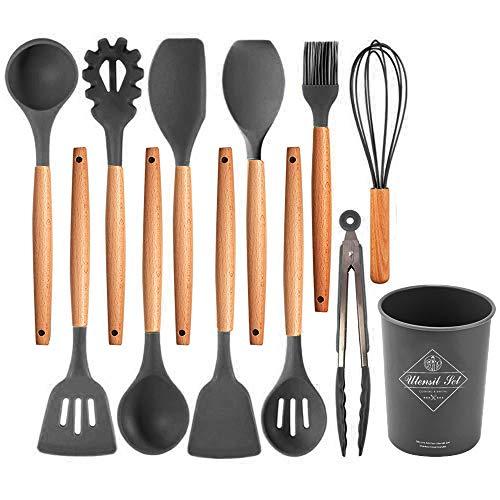 Juego de utensilios de cocina de silicona, 12 utensilios, herramientas de cocina con mangos de madera natural para casa, hogar, apartamento, utensilios de cocina antiadherentes, espátula