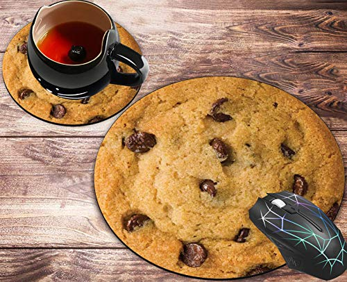 Round Mouse Pad and Coasters Set, Giant Chocolate Chip Cookie Mousepad, Anti Slip Rubber Round Mousepads Desktop Notebook Mouse Mat for Working and Gaming