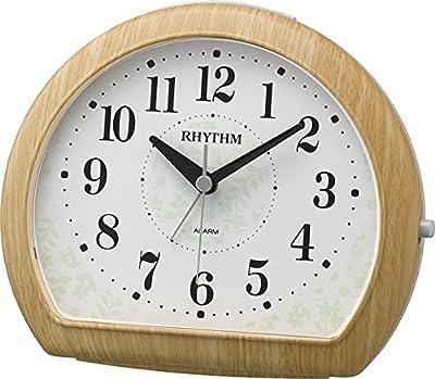 リズム時計 目覚まし時計 アナログ マイキーR663 連続秒針 和室 に良く合うデザイン 茶 (薄茶木目仕上) RHYTHM 8RE662SR07