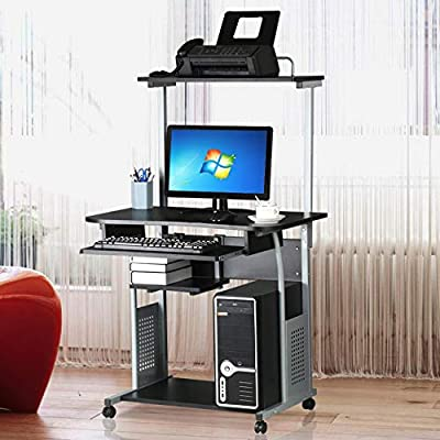 Topeakmart 2 Tier Computer Desk with Printer Shelf and Keyboard Tray Home Office Computer Workstation Rolling Study PC Laptop Table for Small Spaces Black
