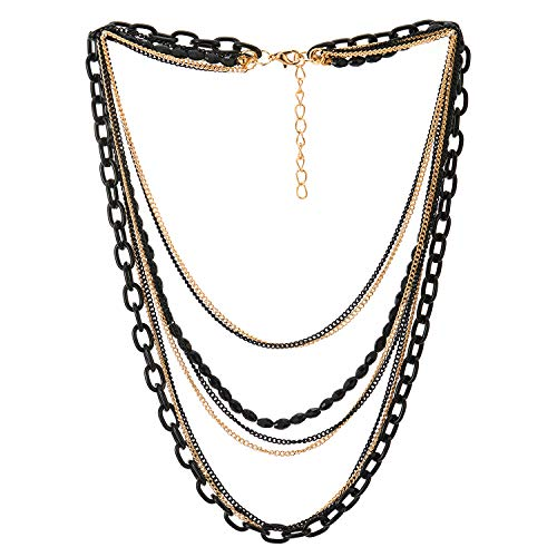 COOLSTEELANDBEYOND Collar de Gargantilla Choker Statement Collar Cascada Multi Capas Negro Oro Cadena con Piedras Cadena de Perlas