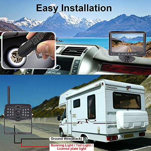 LeeKooLuu LK5 Wireless Backup Camera for Rv,Trailer,Truck,5th Wheels with 7'' DVR HD 1080P Split Screen Kit,2021 Lastest Version High-Speed Observation System with 170° Wide Angle IR Camera