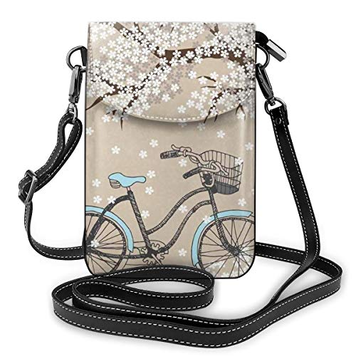 Dames Small Cell Phone Purse Crossbody, Blossoming Tree met Little White Flowers In The Spring en A Bike Sketch Art Work