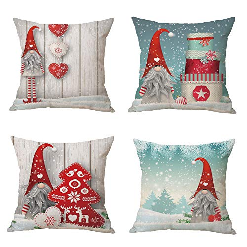 Zivsik Swedish Gnome Scandinavian Tomte Throw Pillow Covers - Yule Santa Nisse Nordic Elf Figurine Christmas Decorative Cushion Cases Xmas Winter Holiday Decor - 18 x 18 Inch 45cm x 45cm 4Pcs