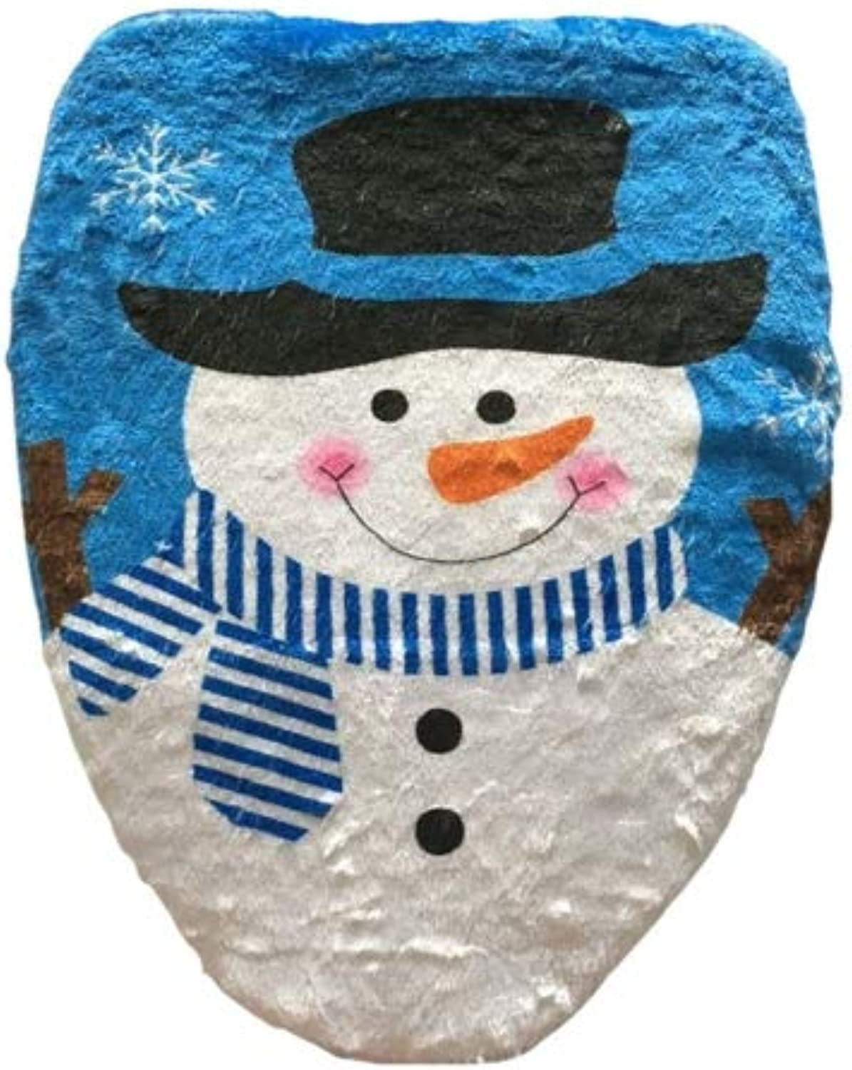Fancy Christmas Decoration Hat Snowman Toilet Lid Cover, Size  48 x 43cm