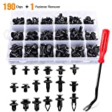 GOOACC 190 Pcs Car Retainer Clips & Fastener Remover - 18 Most Popular Sizes & Applications Auto Push Pin Rivets Set -Door Trim Panel Clips for Toyota, Honda, Nissan, Mazda - Bonus Fastener Remover