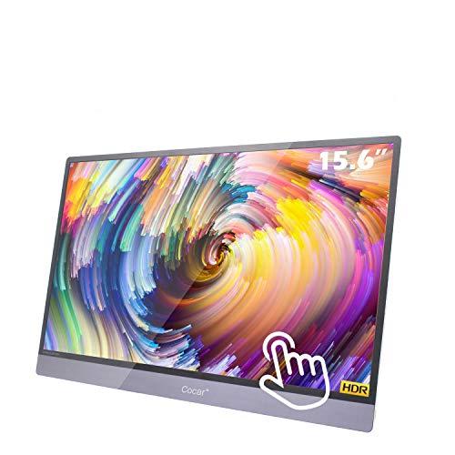 15.6 Pulgadas Tactil Portatil Monitor, 5mm Ultra Delgado LED HD Pantalla 1920x1080P Duplicado IPS HDR Monitor Gaming USB-C/HDMI/Altavoz Doble, para PC/Phone/Laptop/PS4/Xbox