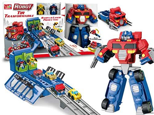 Teorema- Playset Super Robot Trasformabile in Camion con Macchinine e Rampa di Lancio, 66693