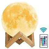 Lmpara de Luna 3D HOKEKI Luz Nocturna Luna Grande 16 Colores 5 ajuste del brillo Intensidad a Elegir Luz de Noche Cualquier Festival mejor regalos Kid dormitorio luces de la decoracin