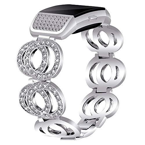 Nigaee Armband für Fitbit Charge 2 Ersatzarmband Edelstahl Ersatz Uhrenarmband Metall Ersatzband kompatibel mit Fitbit Charge 2 Armbänder verstellbar stabil (Typ B Silber)