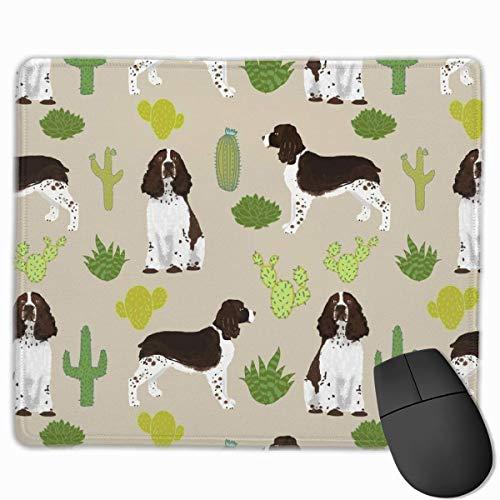 Englisch springer spaniel hund stoff kaktus hund design englisch springer spaniel hunde design kaktus mauspad rutschfeste gummi gaming mauspad rechteckige mauspads für computer desktops laptop