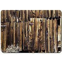 バスマット 玄関マット 足ふきマット,オーク納屋の下見張りドアひびの入った錆びた蝶番日付の木材マンション農地誰もデザイン,滑り止め ソフトタッチ 丸洗い 洗濯 台所 脱衣場 キッチン 玄関やわらかマット 50 x 80cm