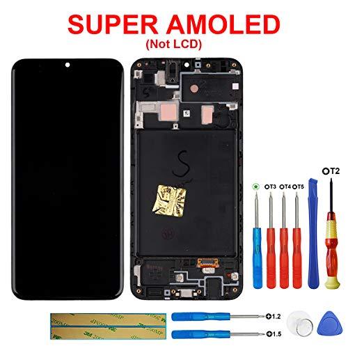 SWARK Super AMOLED-scherm compatibel met Samsung Galaxy A20 (2019) A205 SM-A205F/DS, SM-A205FN/DS 6,4 inch (zwart met frame LCD-scherm touchscreen beeldscherm digitizer Assembly glas + tools