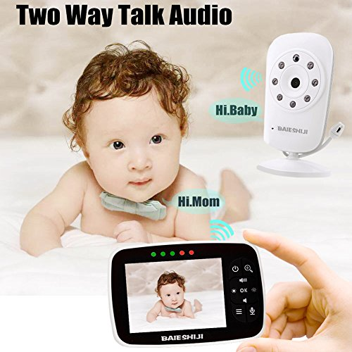 Baby Monitor, Video Baby Monitor 3.5 Large LCD Screen, Baby Monitors with Camera and Audio Night Vision,Support Multi Camera,ECO Mode,Two Way Talk Temperature Sensor,Built-in Lullabies (3.5 inch)