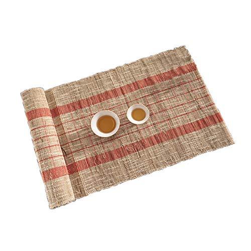 YPSOU Camino de mesa rústico para casa de campo, camino de mesa de arpillera natural, mantel de cocina, comedor, mesa de té, interior y exterior, camino de mesa (tamaño: 30 x 200 cm, color: rojo)
