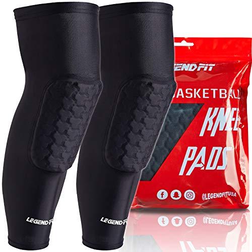 COOLOMG Rodilleras de baloncesto, 1 unidad, rodilleras acolchadas, para hombres, mujeres, niños y jóvenes, talla XS, color negro 2