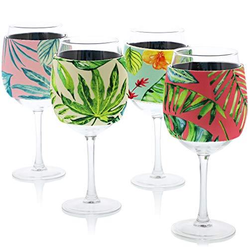 Blue Panda 12-Pack Neoprene Wine Glass Sleeve, 4 Designs