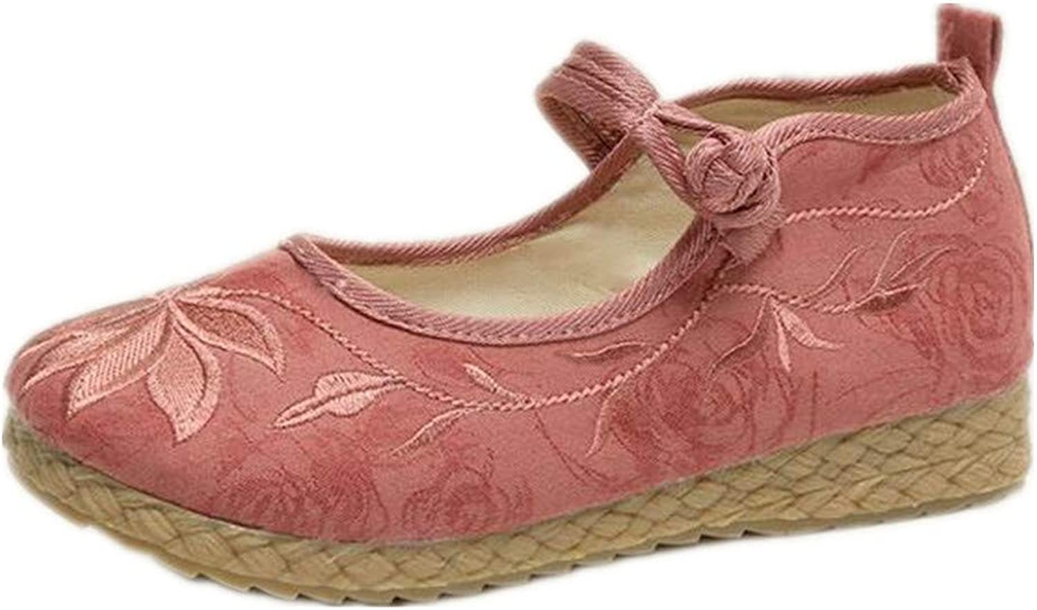 F1rst Rate Women's Embroidery Casual Mary Jane shoes Retro Flats shoes