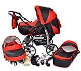 Kamil, Classic 3-in-1 Travel System with 4 Static (Fixed) Wheels incl. Baby Pram, Car Seat, Pushchair & Accessories (3-in-1 Travel System, Black & Red)